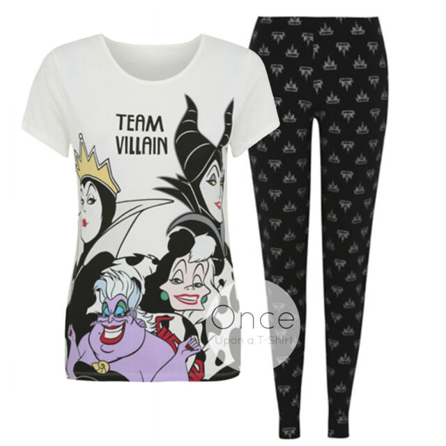 Ladies DISNEY TEAM VILLAIN T-Shirt and Leggings Pyjamas Pajama PJ Set
