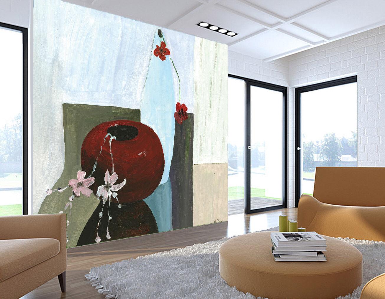 3D Kunst Vase bluemen 77 Tapete Wandgemälde Tapete Tapeten Bild Familie DE Summer