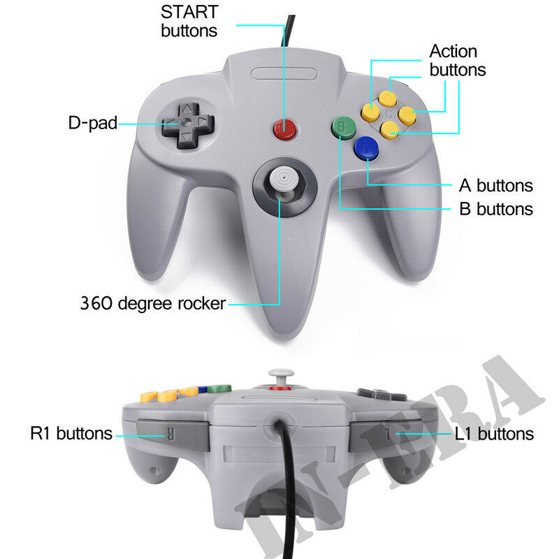 Controller Joystick Gamepad Controllers for Classic N64 Console Video Games 1x2x 6