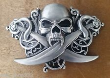 """♈ PIRATE SKULL SWORDS VAMPIRE ♈ Antique Silver Color  4""""x 3"""" Awesome Belt Buckle"""