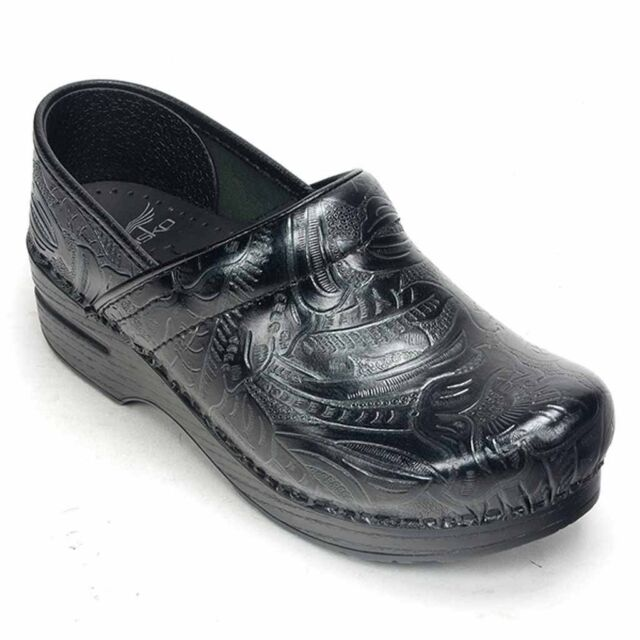 Black Tooled Leather Pro Clogs Size