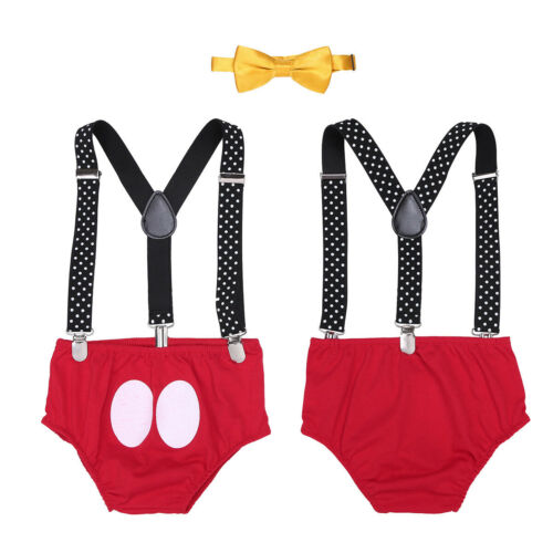 Baby Boy Cake Smash 1st Birthday Suspenders Bloomers Outfit Photo Prop Clothes