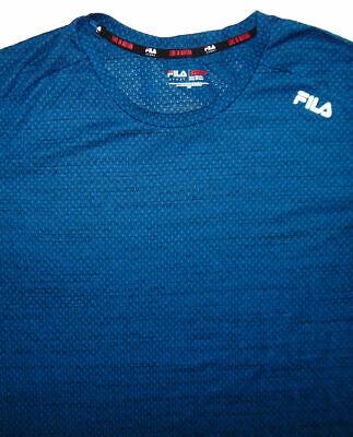 Activewear Tops Fila Sport~men's ~ Blue ~ Short Sleeve~100% Polyester ~ Athletic Tee Shirt ~ Xxl
