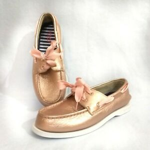 Box Sperry Rose Gold Leather Boat Shoes