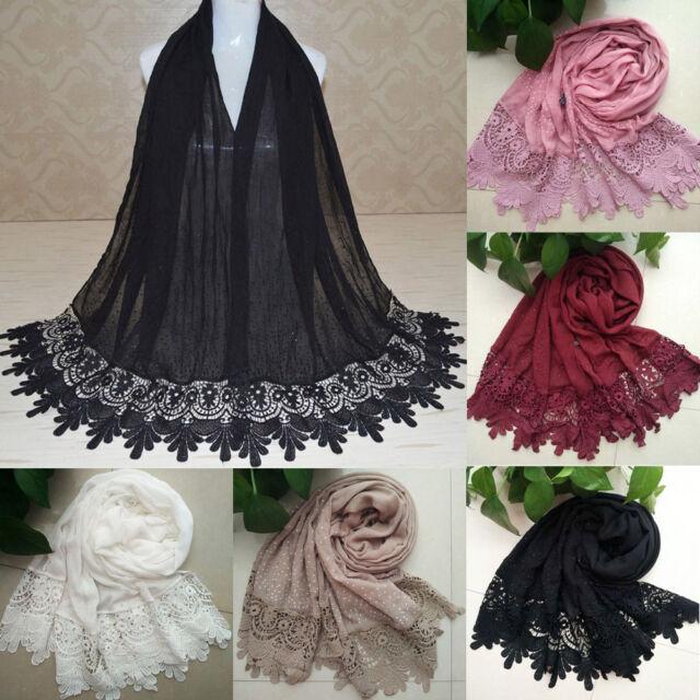 Warm Women Floral Lace Edges Hijab Shawl Cotton Muslim Scarves Scarf Maxi Scarf