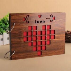 Handmade-Wood-Cover-Photo-Album-8-Inch-Love-Memory-Record-Wedding-Scrapbook