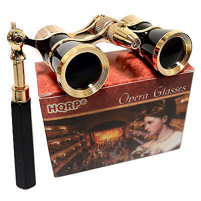 HQRP Opera Glasses Crystal Clear Optic CCO 3x25 Black-Gold w/ Handle & LED Light