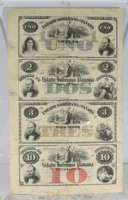 PANAMA DISTRICT or SPANISH/COLUMBIA UNCUT BANKNOTES: Lot 99