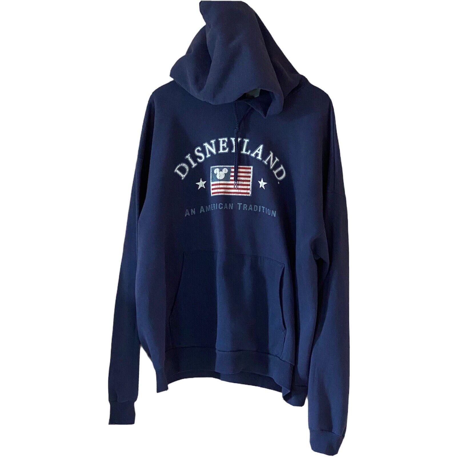 Vintage Disneyland Hoodie Men's Large Blue Hooded Jumper Graphic Print Sweater