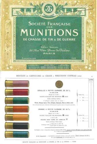 Ammunition Catalog SFM 1912 Societe Francaise des Munition