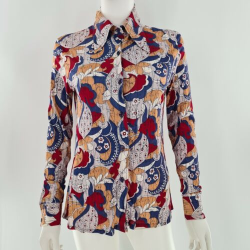 VTG BEELINE Blouse 1960/'s mint condition MED Black Silky Polyester with Pink Floral Print