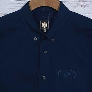 Mens-Pretty-Green-Regular-Fit-Navy-Blue-Shirt-Floral-Trim-LS-Size-XS-34-36-034