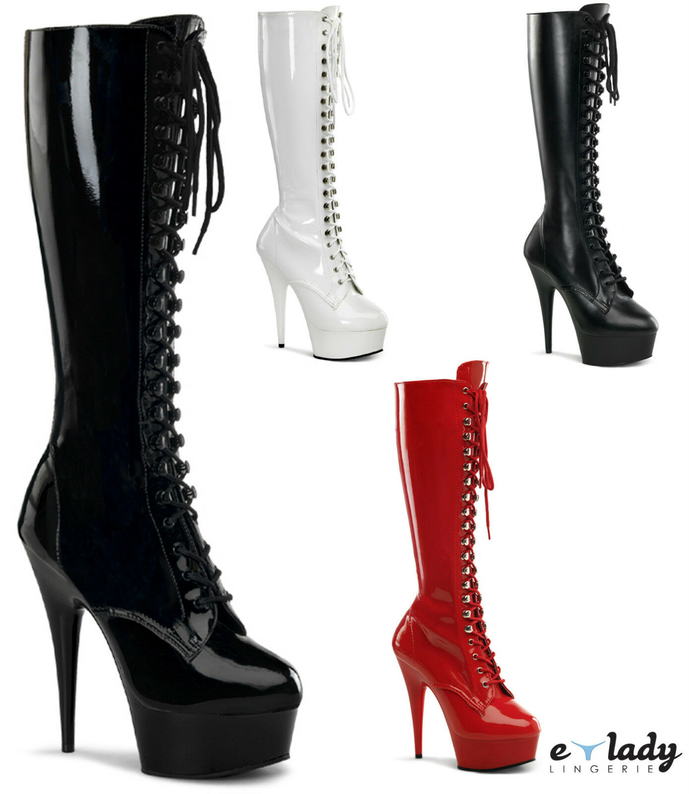 Pleaser Delight - 2023 la rodilla Botas altas Zapatos Taco aguja Zapatos Tacones Altos Plataformas Fancy Dress