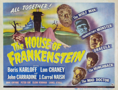 "/""HOUSE OF FRANKENSTEIN/"" .. Boris Karloff Vintage Movie Poster A1A2A3A4Sizes"
