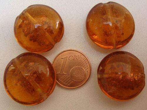 4 perles galets VERRE lampwork 20mm MARRON touches DORE DIY création bijoux