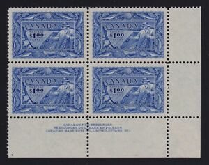 Canada Sc #302 (1951) $1 Fishing Resources LR Plate Block Mint VF XLH