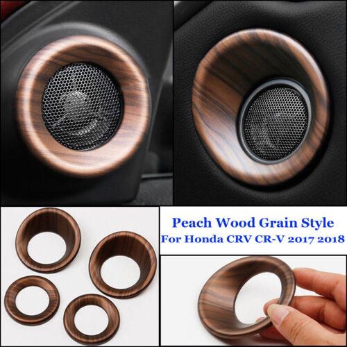 For Honda CRV CR-V 2017 2018 Peach Wood Grain Door Speaker Panel Cover Trim 4X