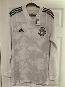 adidas Men's Mexico 20/21 Long Sleeve Away Jersey White GC7942 ...