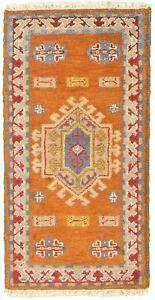 Hand-knotted-Carpet-2-039-1-034-x-4-039-0-034-Royal-Kazak-Burnt-Orange-Wool-Rug