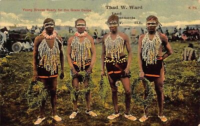 Postcard Indian Braves Grass Dance In Quincy Illinois