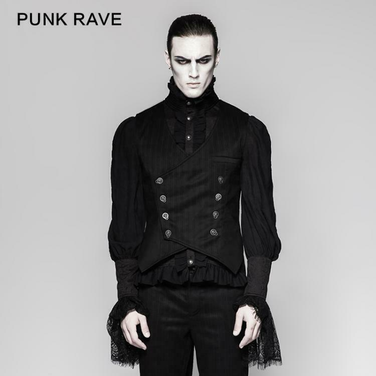 Punk Rave Goth Victorian Pinstripe Double Breasted Oriental Waistcoat Vest Y-754