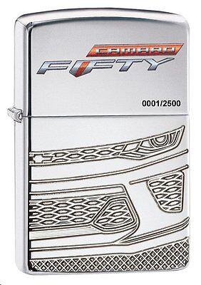 "Zippo ""Chevy Camaro-50th Anniversary"" Lighter, High Polish Chrome Armor, 29478"