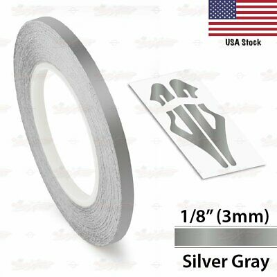 """3mm 1//8/"""" Pin Stripe Pinstriping Solid Line Tape Decal Sticker Car Silver Grey"""