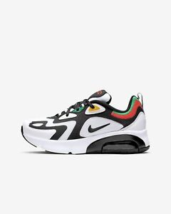 Details about New Nike Youth Air Max 200 (GS) Shoes (AT5627 100) White Bright Crimson Gold