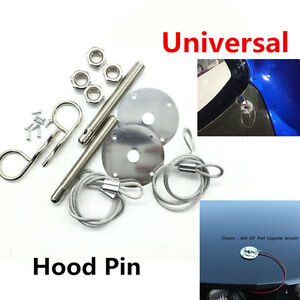 """NEW Muscle 3/16"""" Car Chrome Hair Pin Style Hood Pin Set W/ Lanyards 1/2"""" Studs"""