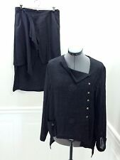 CREA CONCEPT Charcoal Gray Linen Top and Skirt Set Lagenlook size 44 or US 14