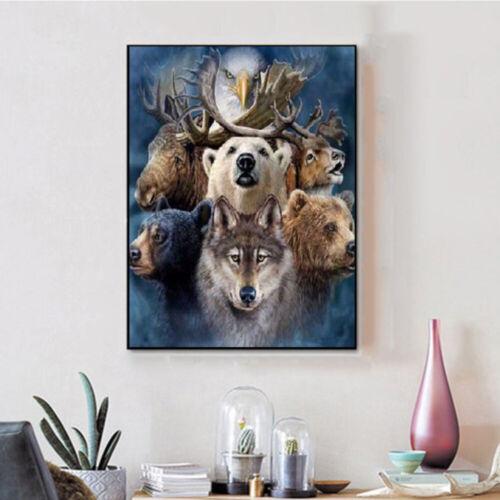 5D DIY Full Drill Diamond Painting Kits Art Embroidery Bear Wolf Home Decoration