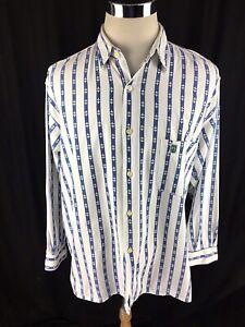 Verte-Vallee-Mens-Button-Front-Shirt-Sz-XL-Fleur-De-Lis-Long-Sleeve-Striped-Vtg