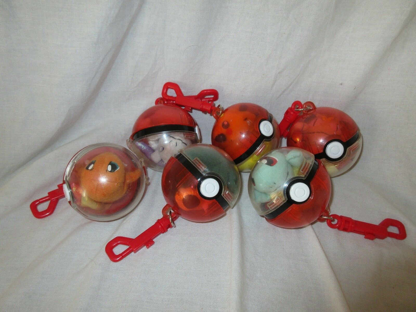 Applause Pokemon 1998 pokeball x6, Meowth Pikachu snorlax  Mewtwo charizard