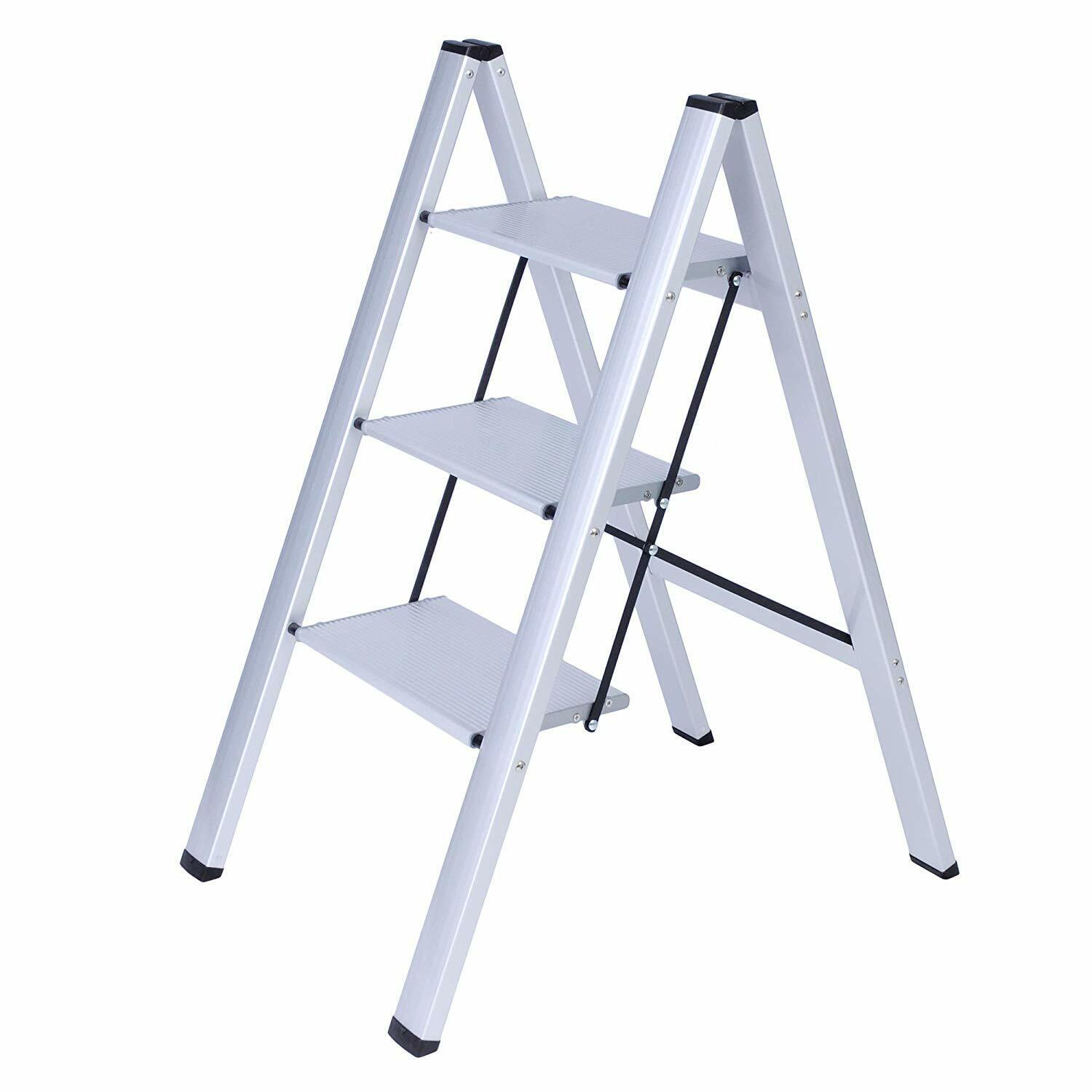 Cool Details About 3 Steps Safety Ladder Steel Folding Step Stool Lightweight Portable Step Ladder Machost Co Dining Chair Design Ideas Machostcouk