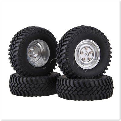 RC 1:10Rock Crawler Black 100mm OD Rubber Tyre+White 4-holes  Wheel Rim Set of 4