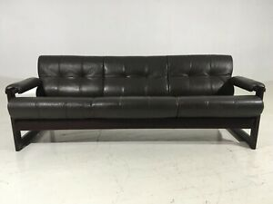 Details About Bohemian P Lafer Rosewood Leather Floating Sling Sofa Mid  Century Mod Gillon Era