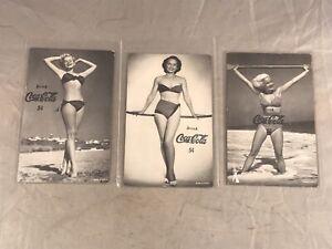 LOT-of-3-VINTAGE-BATHING-BEAUTY-5-CENT-COCA-COLA-EXHIBIT-CARDS