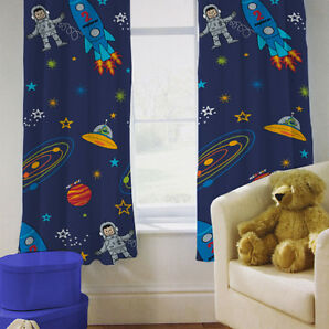 "Children's Bedroom Curtains Space Boy Planets Rocket 66"" by 72"" with Tiebacks"