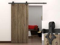 6 Ft Dark Coffee Country Barn Wood Steel Sliding Door Closet Hardware Track Set on sale