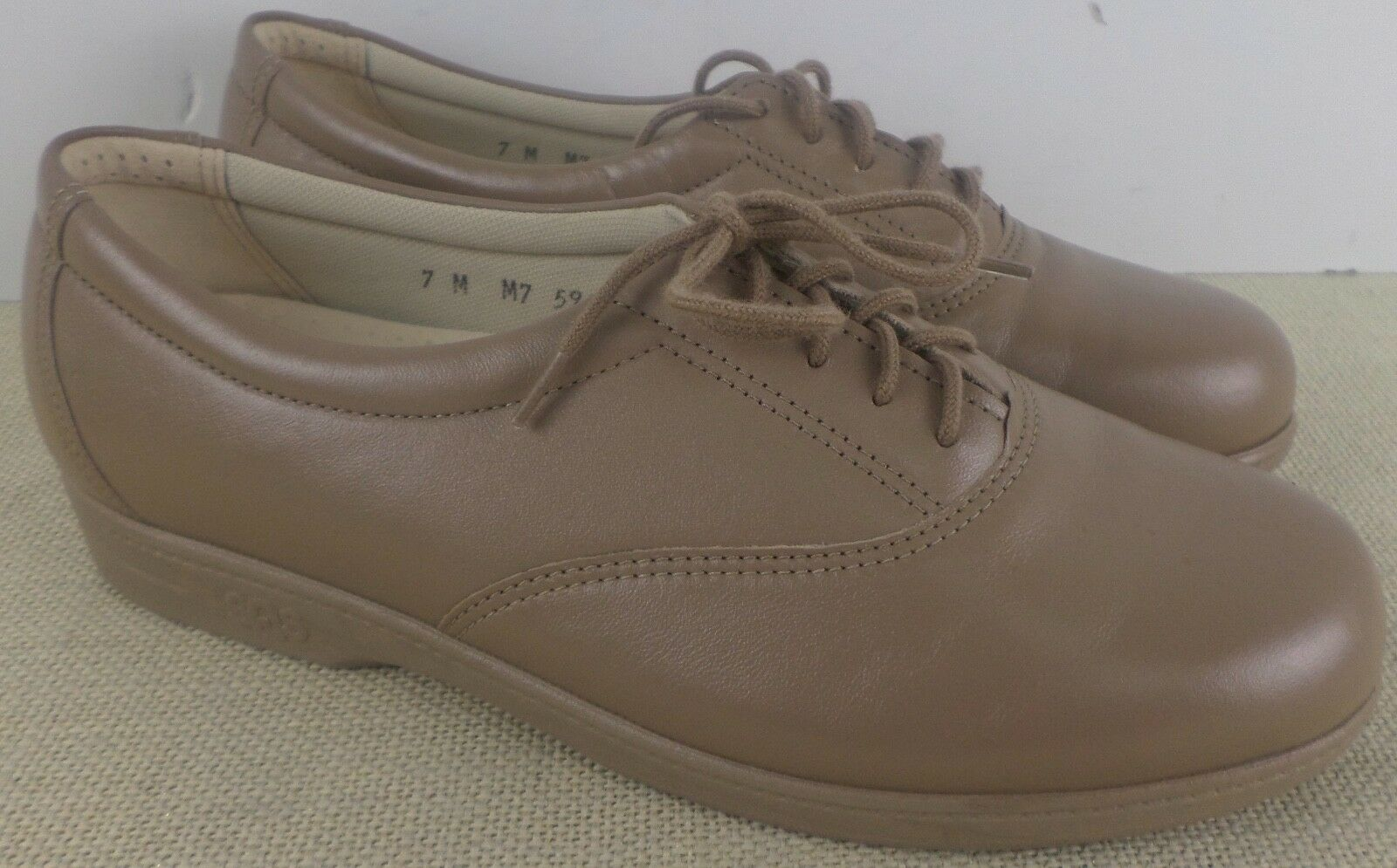 SAS WHISPER MOCHA WOMEN'S BEIGE LEATHER CASUAL Schuhe SIZE 5M NEU MADE IN USA