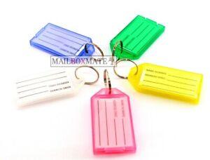 New-Key-Tags-Plastic-Key-Rings-ID-Tags-Name-Label-Key-Fob-Tag-Choose-Your-Colour