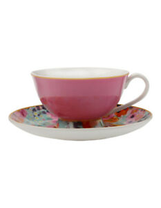 NEW Cashmere Bloems Tea Cup & Saucer  Gift Boxed  200ml - Pink & Blue