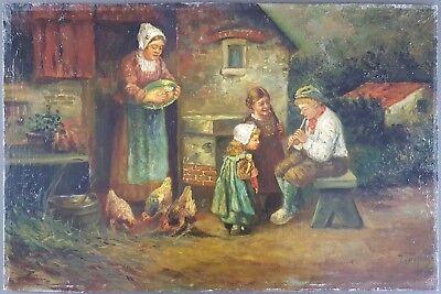 Ancien Tableau Scene De Vie A La Campagne Peinture Huile Antique Oil Painting Ebay