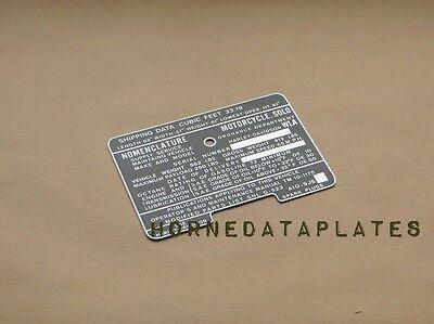 HARLEY DAVIDSON MILITARY WLA 1944 NOMENCLATURE TAG CAUTION TANK DATA PLATE