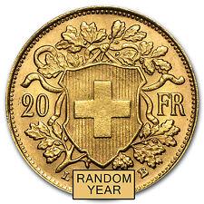 Random Year 0.1867 oz Swiss 20 Franc Helvetia Gold Coin About Uncirculated AU