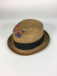 aa54d0ca798 Image is loading Vintage-straw-CAVANAGH-fedora-hat-with-unique-colorful-