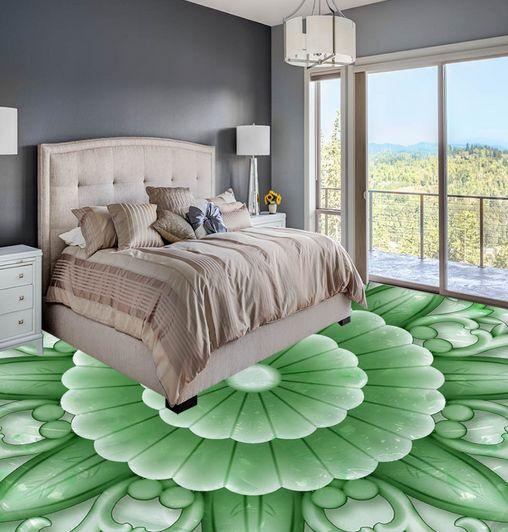 3D Grün Jade Flower Floor WallPaper Murals Wall Print Decal 5D AJ WALLPAPER