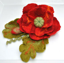 HANDMADE FELTED WOOL BROOCH/CORSAGE/PIN WET FELTING POPPY FLOWER RED GREEN BROWN