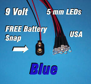 Holder,5WBF 2pcs Blue Flash Flashing w Pre-Wired 9v-12V 5mm Car//Boat//Truck LED