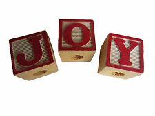 "Vintage Red Painted Wood JOY Christmas Letter Block Beads Macrame Craft 1-3/16"""